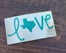 Texas Love Decal   Love Texas Decal   Vinyl Decal   Texas Decal   Car Decal   Love Decal   Car Stickers