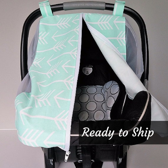 summer car seat canopy mint and white arrows car seat cover. Black Bedroom Furniture Sets. Home Design Ideas