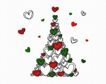 A Christmas tree embroidery in the shape of hearts for machine embroidery 4 x 4 and 5 x 7