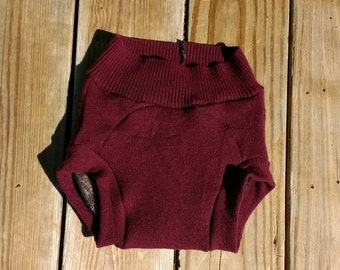 Upcycled Burgundy Red Merlot - M - 100% Wool - Cashmere - Soaker - Cloth Diaper Cover - Baby Toddler - Medium