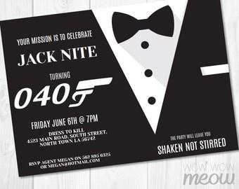 James bond invite etsy secret agent spy party invite instant download detective editable bond invitation birthday tuxedo tux suit personalize stopboris Choice Image