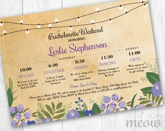 Bachelorette Weekend Invitation Itinerary Rustic Bridal Shower Invite Girls Night Schedule Floral Purple Hen Customize Printable Editable