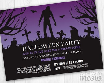 halloween zombie invitation party printable instant download purple skull creepy grave yard invite celebration personalized editable - Zombie Halloween Invitations