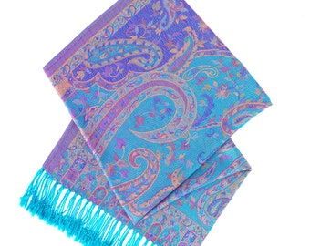 Blue and purple pashmina scarf