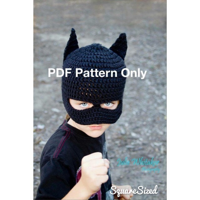 Batman Beanie with or without mask PATTERN ONLY Crochet