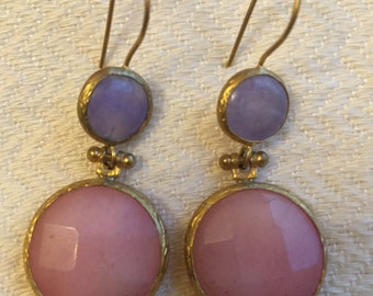 Lavander and Light Pink Opal Earrings