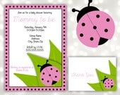 Pink Lady Bug Baby Shower Invitations - DIY PDF - Edit and Print at Home in Adobe