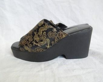 SALE 90s Platform Dragon Print Sandals US 6.5