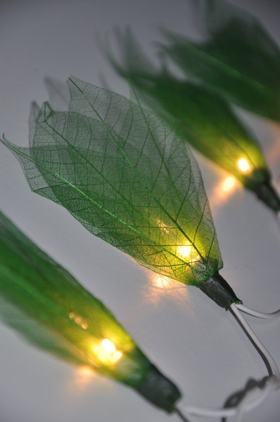 20 Green Flower Leaf String Lights for Night by leelavadeelights