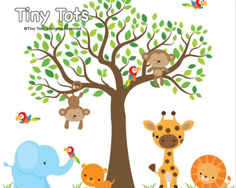 Jungle Wall Decals with Tree Decal-Animal Decals-Nursery Wall Decals-Wall Sticker-Giraffe-Lion-Tiger-Parrot-Elephant-te02