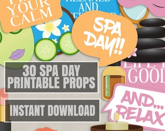 30 Spa day printable props, girls night in Photo Booth Props, girly spa night props, photobooth spa props, pink, spa day diy decoration