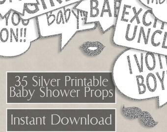 35 Baby Shower Silver Glitter Printable speech bubbles props, new baby party photo booth props, diy photobooth, silver glittery props