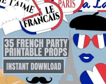 35 French Party Printable Props, Paris Party Props, Francais Party props, french themed photo booth props, instant download, paris party