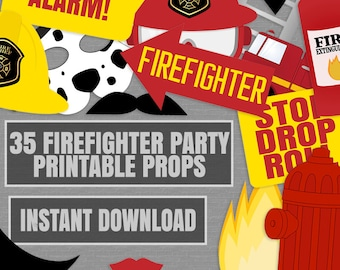 35 Firefighter party printable photo booth props, fireman birthday party ideas photobooth props, diy fire engine props, instant download