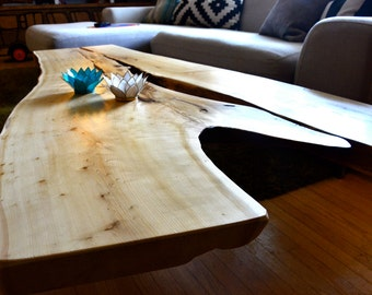 Cedar Live Edge Coffee Table~Steel Hair Pin Legs