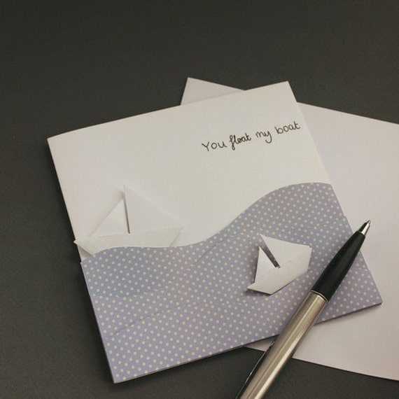 You float my boat customisable Greeting Card - valentines, love, moving, new home, handmade, leaving, retirement, origami, paper