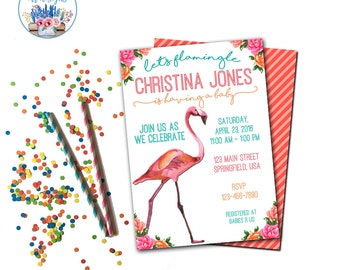Flamingo Baby Shower Invitation, Let's Flamingle, Flamingle Shower Invite