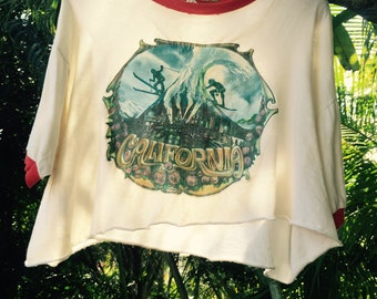 Vintage 70's cropped ringer 'California' tee