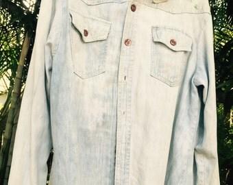 Vintage 70's denim embroidered shirt