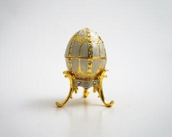 "Faberge Style Egg w/Pendant Trinket Box, 2.5"" Tall (Beige)"