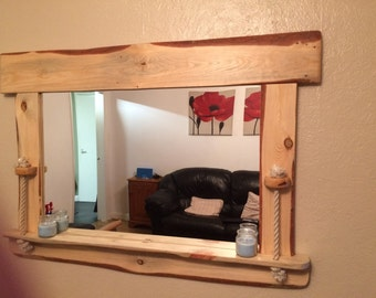 Unique driftwood mirror with display shelf and rope detail