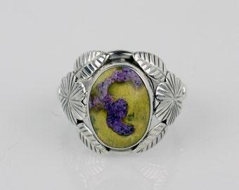 Atlantisite Ring Sz 8.5 Sterling Silver Atlantisite Ring Lime Green Stone Ring Sterling Silver Stichtite Serpentite Healing Stone Ring