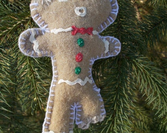 Half-Eaten Gingerbread Man Ornament