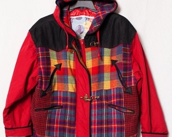 80's Red Plaid Winter Hoodie Jacket, 80's Multi Colored Women's Hoodie Jacket with Leather Shoulders