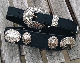 vintage southwestern belt with silver conchos