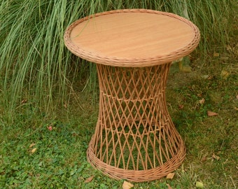 Attractive Handwoven Round Wicker Table, Willow Table, Wicker Patio Table, Round Patio  Table,