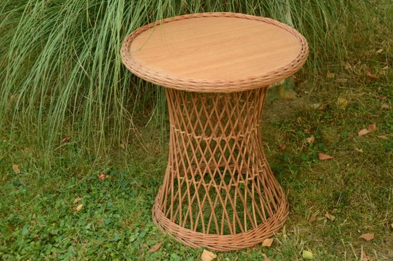 handwoven round wicker table willow table wicker patio
