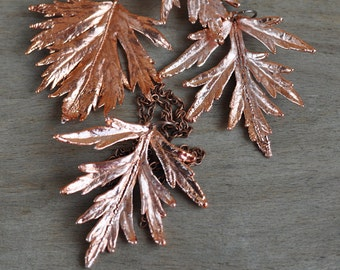 Real wormwood leaf pendant, electroformed Botanical Jewelry, Copper Dipped, Woodland Jewelry, OOAK Pendant, natural leaf, electroform ,witch