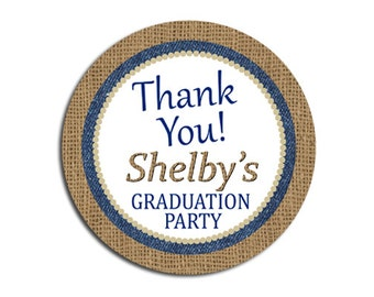 Rustic Burlap Denim Navy Blue Thank You Favor Label Tag / Graduation Party ANY Occasion Goody Bag Party Favor Will be personalized for you!