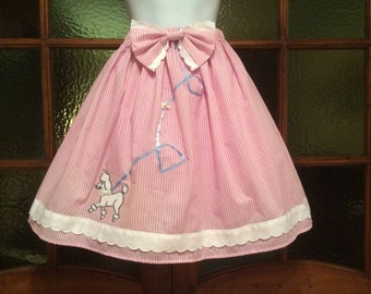 Pink/White Stripes Poodle Lolita Skirt 28-35 inch waist