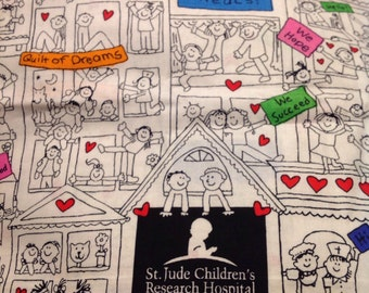 St Jude Children's Hospital quilt of dreams fabric with hearts handmade pillowcase
