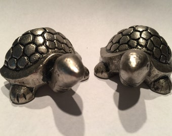 New 2 TURTLE KNOBS Silver Embossed Pulls Nautical Handles