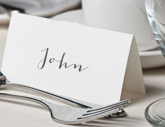 Calligraphy place cards elegant wedding name