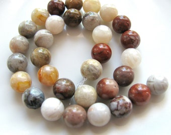 Bamboo Agate, 32 beads, 8mm, white, red, yellow, brown, gray, mauve, 1mm beading holes, Agate beads, Jewelry supply - B 268