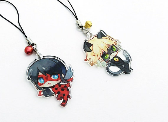 ... Hand-Drawn Double Sided Front u0026 Back Acrylic Charms with Phone Strap