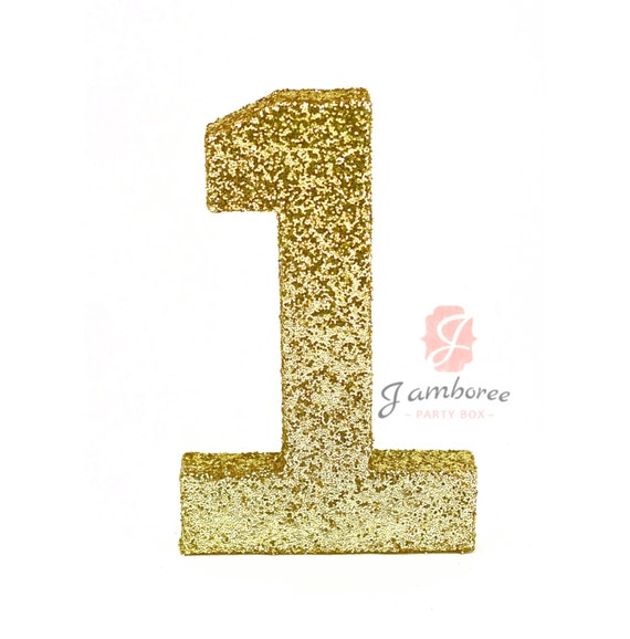 "8"" Glitter Number One, Paper Mache Number 1, Gold Birthday Party, Birthday Prop, Number Birthday, 1 2 3 4 5 6 Birthday, Glitter Party Decor"