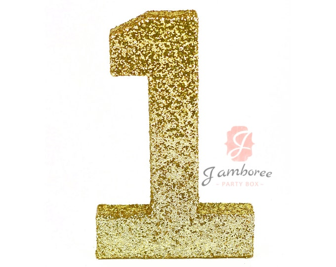 """8"""" Glitter Number One, Paper Mache Number 1, Gold Birthday Party, Birthday Prop, Number Birthday, 1 2 3 4 5 6 Birthday, Glitter Party Decor"""
