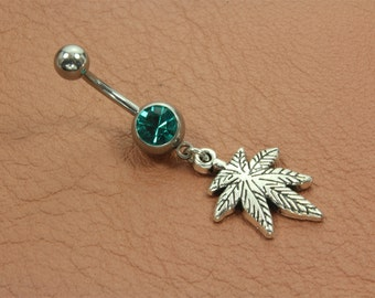 Pot Belly Button Ring. Weed Belly Band. Beach Belly Ring. Weed Belly Ring. Bohemian Navel Piercing. Hippie Belly Piercing. Pot Piercing