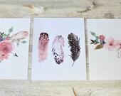 Girl Nursery Print Set, Rustic Home Decor, Home Decor Wall Art, Woodland Nursery Art, Boho Home Decor, Tribal Print Set, Floral Set of 3.