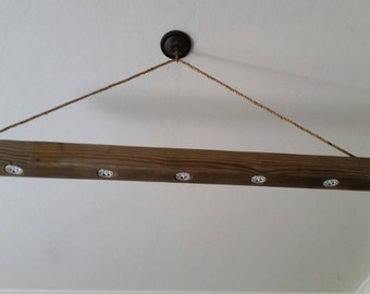 Reclaimed Wood Beam Chandelier, Flush-mount LEDs and Rope