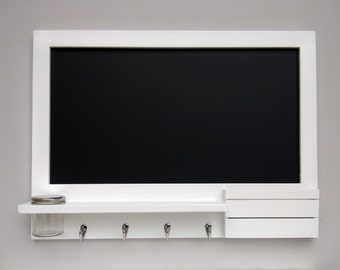 Large blackboard in white with hooks, shelf and mail holder