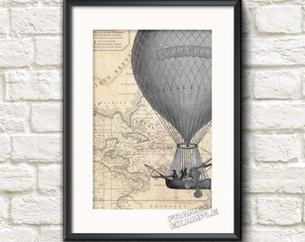 Nautical Air Balloon Air Ship Vintage Old Map Ar  Antique Style  INSTANT DIGITAL DOWNLOAD Printable Wall Hanging Ideal Home Decor Gift idea