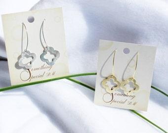 """Quatrefoil Earrings, Clover Earrings, Small Quatrefoil or Clover Earrings 4/5"""" Diameter In Gold and Silver"""
