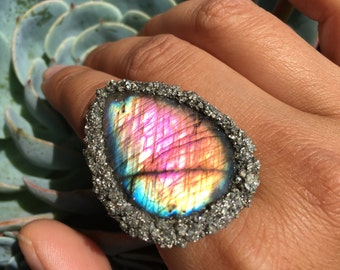 Rainbow Labradorite and Pyrite Ring.