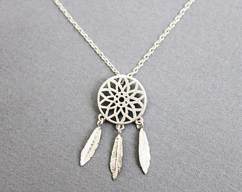 Gold / Silver Dream Catcher Necklace Boho Necklace Delicate Filigree Necklace  Dainty and Stylish Necklace