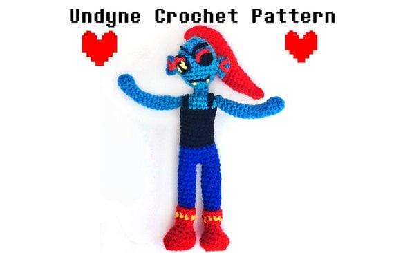 Undertale Amigurumi Pattern : Undyne Crochet Pattern Undertale Amigurumi Kawaii Crochet